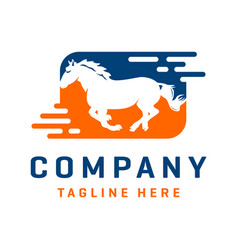 running horse logo design template vector image