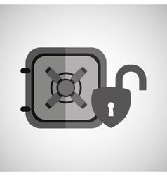 Safe box padlock open protection design vector