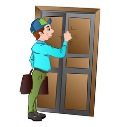 Salesman knocking on a door vector