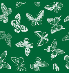 seamless background butterflies sketches vector image