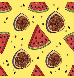 Seamless pattern with watermelon and figs vector