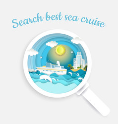 Search sea cruise concept paper cut vector