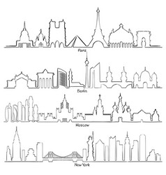 Set cities silhouette paris berlin moscow vector