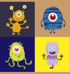 set of cute monster cartoon character 002 vector image