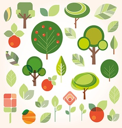 set of flat gardening icons vector image