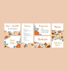 set vertical horizontal and square wedding vector image