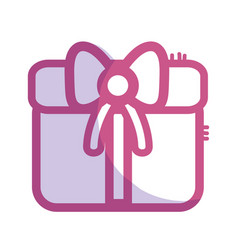 silhouette gift present with ribbon decoration to vector image