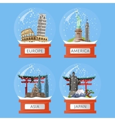 Snow globes with famous attractions vector image