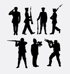 Soldier army and police silhouette 1 vector