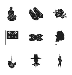 South Korea set icons in black style Big vector image