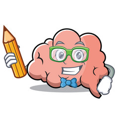 Student brain character cartoon mascot vector