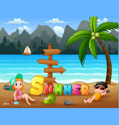 Summer holiday kids relaxing on beach vector