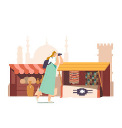 Tourists character with photo camera visit arabic vector