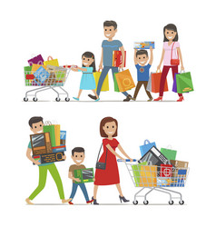 Two walking and smiling families with purchases vector