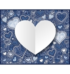 Valentines day white paper on hand drawing blue vector image