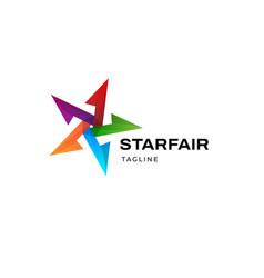 Vibrant colorful star logo design template vector
