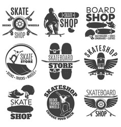 Vintage skateboarding shop emblems set vector