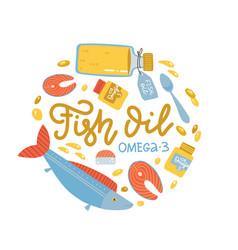 Vitamin intake color circle concept fish oil vector