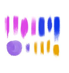 watercolor brush ink grunge shapes set vector image