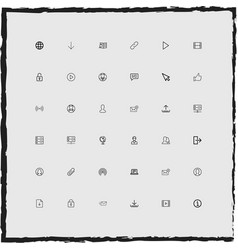 web simple linear icons set vector image