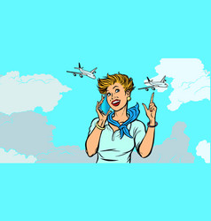 woman stewardess with phone sky and planes vector image