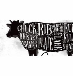 beef cutting scheme vector image