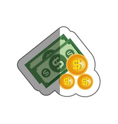 bills dollars with coins isolated icon vector image vector image