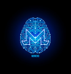 crypto currency monero on brain background vector image