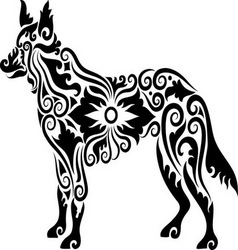 Dog tattoo 2 vector image vector image