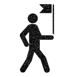 Guide Man With Flag Grainy Texture Icon vector image vector image