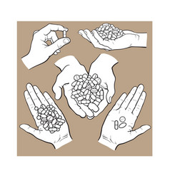 hand drawn hands holding piles of pills capsules vector image vector image