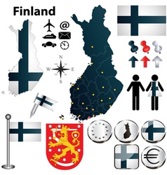 Map of Finland with regions vector image vector image