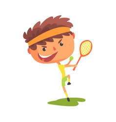 young tennis player with a racket in his hand vector image vector image