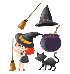 halloween set with witch and other elements vector image vector image