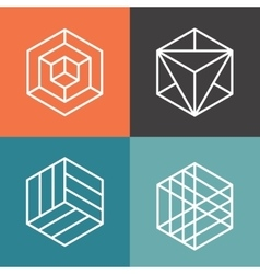 Hexagon logos in outline linear style vector image