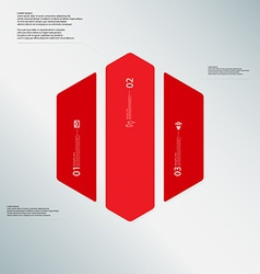 Hexagon template consists of three red parts on vector image vector image