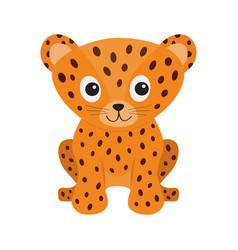 jaguar leopard sitting wild cat smiling face vector image vector image