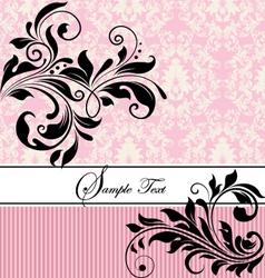 pink floral wedding invitation vector image vector image