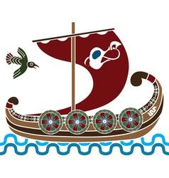 viking ship colored vector image