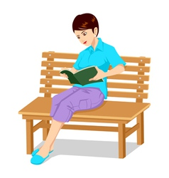 A Girl Reading A Book vector image