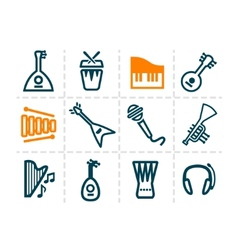 audio line icons vector image vector image