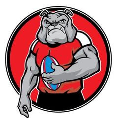 bulldog as rugby football player vector image vector image