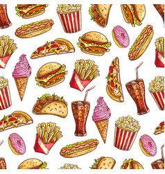 fast food sketch seamless pattern vector image vector image
