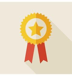Flat Award Gold Medal with long Shadow vector image vector image