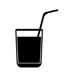 Juice glass with drinking straw black color icon vector