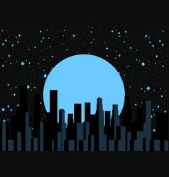 night city moon and stars panorama of the city vector image vector image