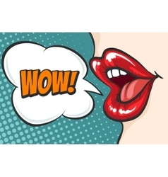 Pop art lips with WOW bubble vector image vector image