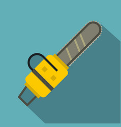 yellow chainsaw icon flat style vector image