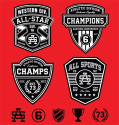 Athletic patch emblems vector image vector image
