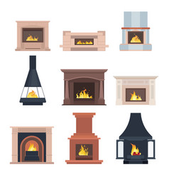 collection of home different fireplaces to paste vector image vector image